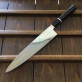 Yoshikazu Ikeda 270mm Gyuto Moon & Fuji Hamon Honyaki Oil Quench Shirogami #3 Ebony with Bone Spacer