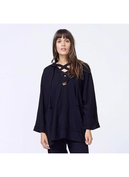Monrow Hooded Lace Up Poncho