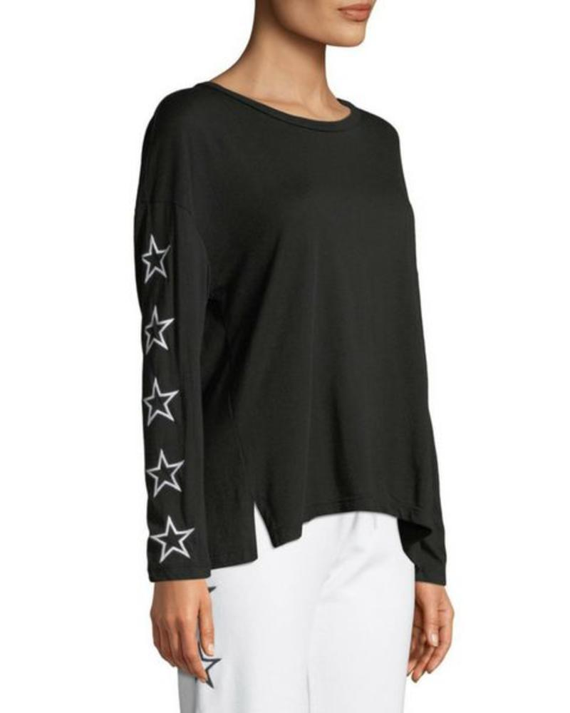 Monrow Slouchy Top W/ Star Embroidery