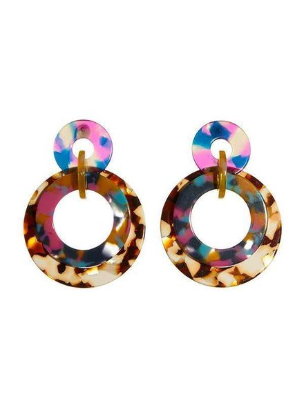 Lele Sadoughi Banded Hoops - Jungle Punch