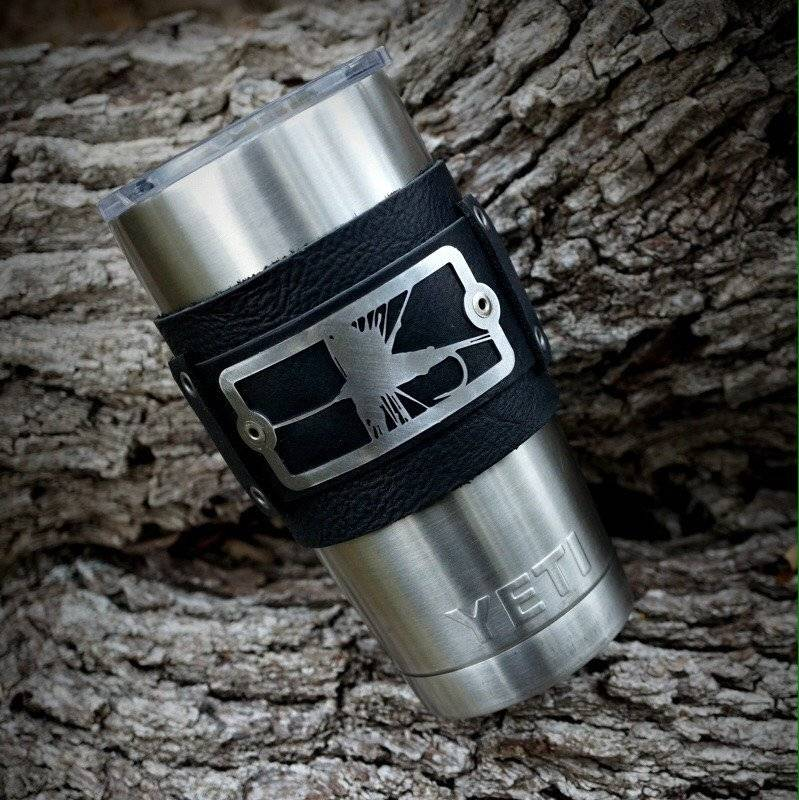 Sight Line Provisions Dry Fly Leather Cuff for Yeti Tumbler