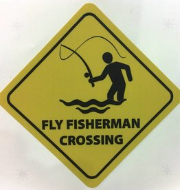 "Eric Gossage Fly Fisherman Crossing Sticker 3.5"" x 5"""