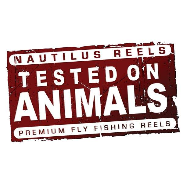 "Nautilus Reels Nautilus Tested On Animals Sticker 4.5"" x 2.75"""
