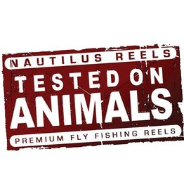 "Nautilus Reels Nautilus Tested On Animals Sticker 8.5"" x 5"""