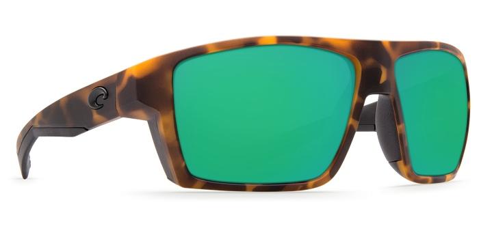 Costa Del Mar Costa Bloke Matte Retro Tortoise Matte Black Frame Green Mirror 580G Lens