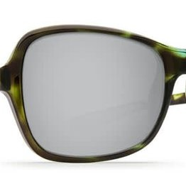 Costa Del Mar Costa Kare Shiny Kiwi Tortoise Frame Silver Mirror 580P Lens