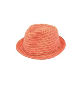 Joy Susan Woven Fedora Natural Trim Coral