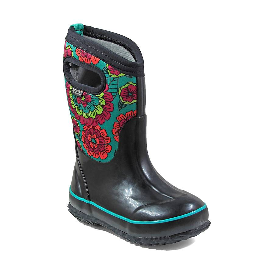 Bogs Child/ Youth Classic Pansies Black