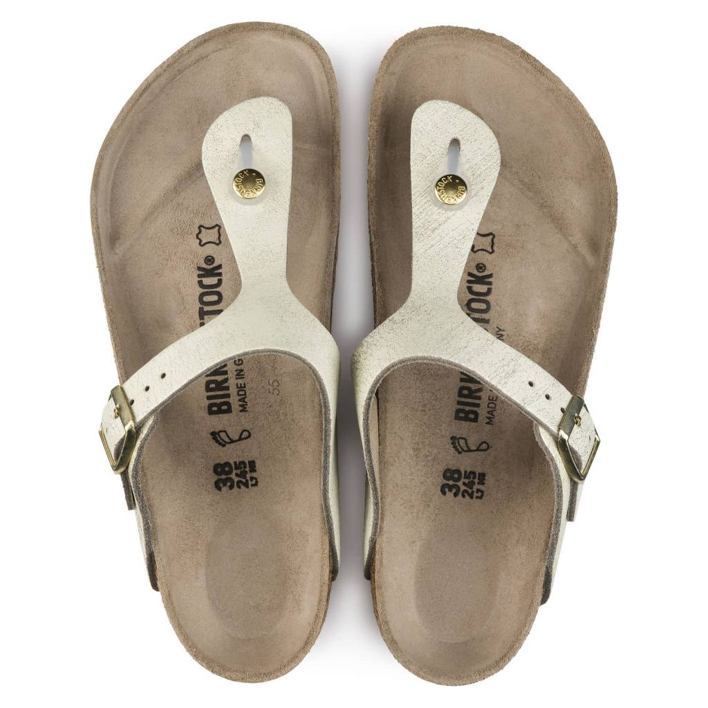 Birkenstock Birkenstock 1008791 Women's Gizeh Washed Metallic Cream Gold Leather