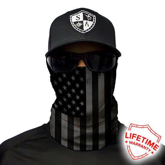 Sa Company Face Shield Black Out American Flag Skull