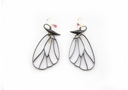 Gabriella Kiss Butterfly Cell Wings Earrings - Bronze