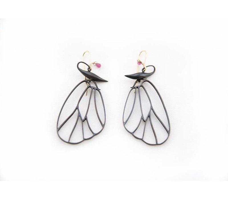 Butterfly Cell Wings Earrings - Bronze