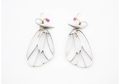 Gabriella Kiss Butterfly Cell Wing Earrings - Silver