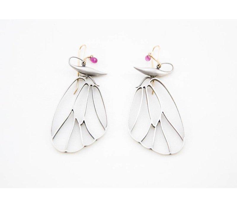Butterfly Cell Wings Earrings - Silver