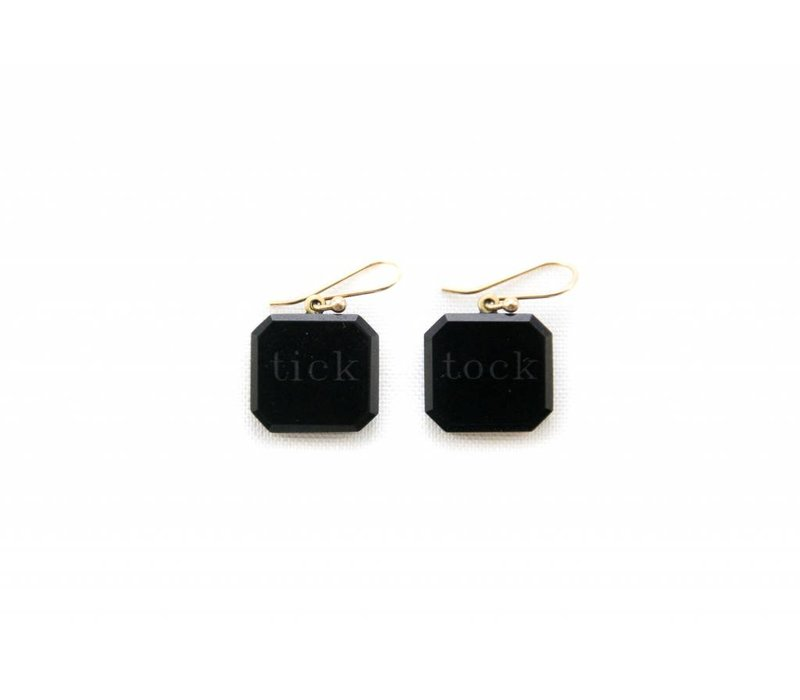 Black Jade Tick Tock Earrings