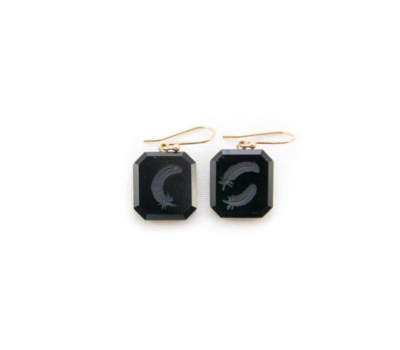 Black Jade Feather Earrings
