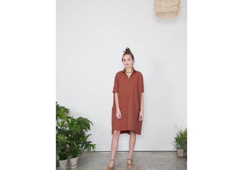 SCHAI Nehmo Shirtdress Dark Rust