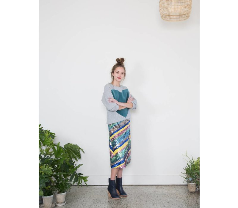 Striped Sequin Skirt