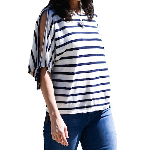 VELVET COTTON/MODAL STRIPE TOP