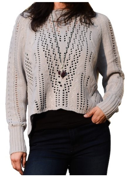 LYLA AND LUX CROP SPLITBACK SWEATER