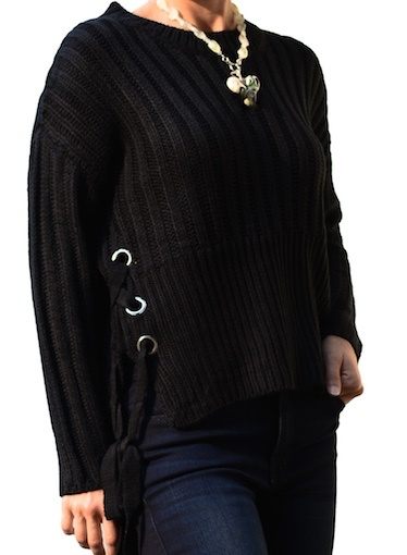 LYLA AND LUX SIDE LACED SWEATER
