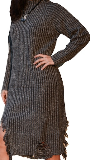 LYLA AND LUX DISTRESSED SWEATER DRESS