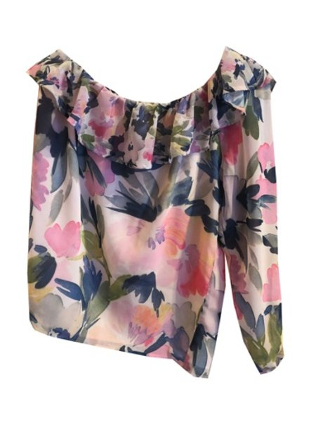 FRENCH CONNECTION ONE SLEEVE PRINT BLOUSE