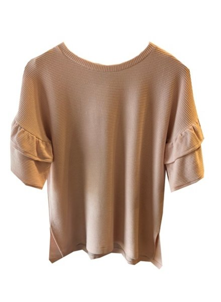 FRENCH CONNECTION RUFFLE SLEEVE RIBBED TOP