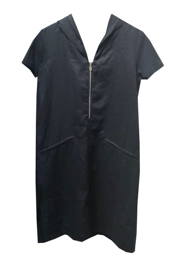 BLU #9 LINEN ZIP HOODY DRESS
