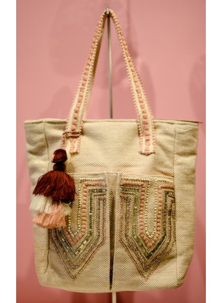 A&B PEACH FRONT PCKT TOTE