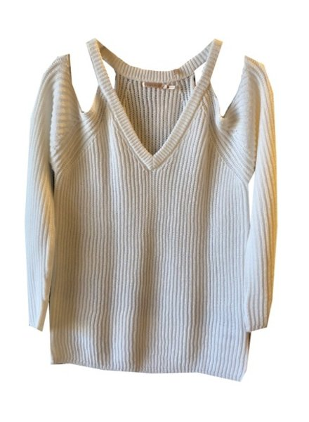 ESQUALO VNECK COLD SHOULDER SWEATER