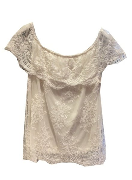 ESQUALO OFF SHOULDER LACE TOP