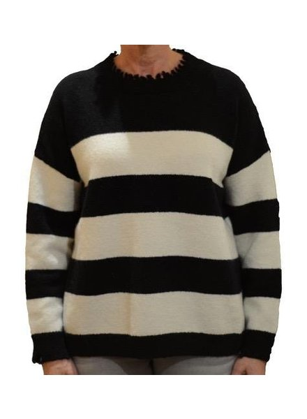 LYLA AND LUX DISTRESSED STRIPE SWEATER