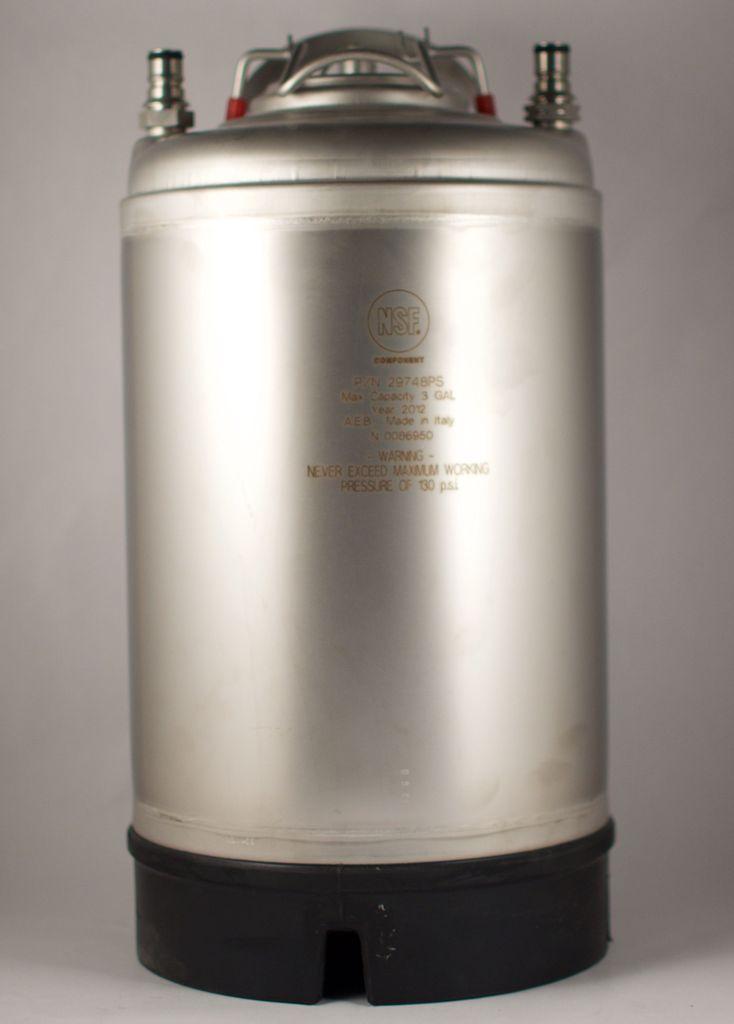 All Safe New 3 Gallon Ball Lock Corny Keg  - Steel Handle