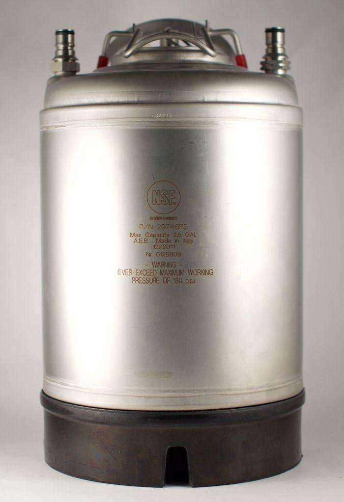 All Safe New 2.5 Gallon Ball Lock Corny Keg  - Steel Handle