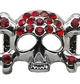 "3/8"" Skull Slider Charm Red 3/8'' (10mm)"