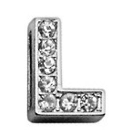 "L - 3/8"" Clear Bling Letter Sliding Charms"