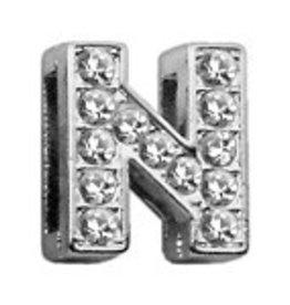 "N - 3/8"" Clear Bling Letter Sliding Charms"