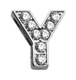 """Y - 3/8"""" Clear Bling Letter Sliding Charms"""