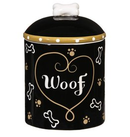 "Ceramic Dog Treat Jar ""Woof"""