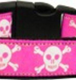 Pink Skulls Dog Collar Medium