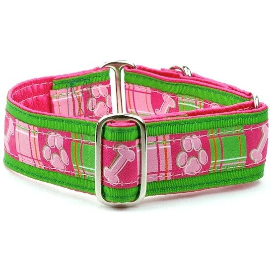 "1-1/2 Wide Martingale Collar Large 15-20""..Madras Pink Silver"