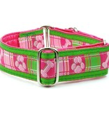 """1-1/2 Wide Martingale Collar Large 15-20""""..Madras Pink Silver"""