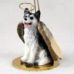 Angel Ornament Husky-Black/Wht-Brn Eye