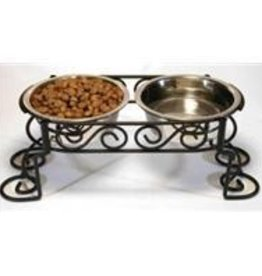 "Stainless Elevated 5.5""H Scroll Feeder, 1.25 qt each bowl"