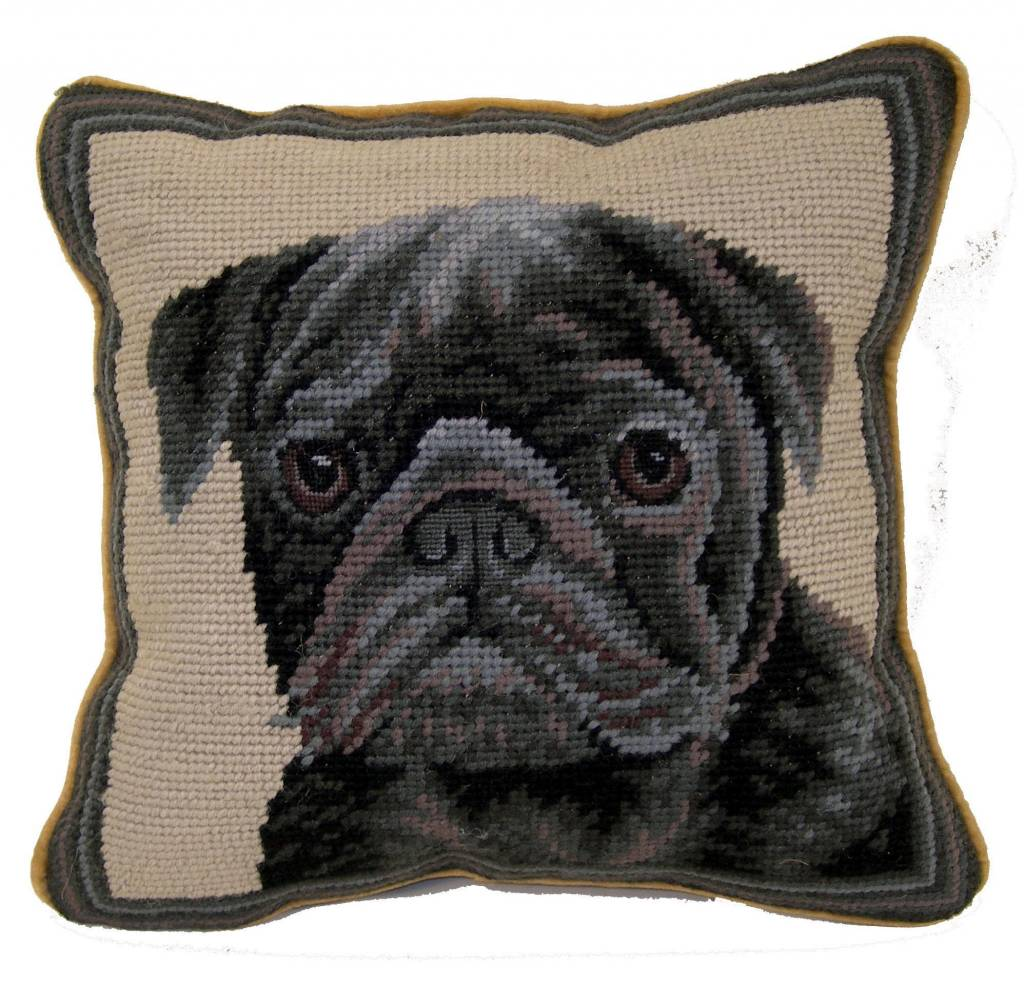 "1o"" Pillow Pug-Black"