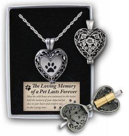 Paw Memorial Locket-Silver/ Paw Print
