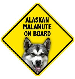 Pet On Board Sign Alaskan Malamute