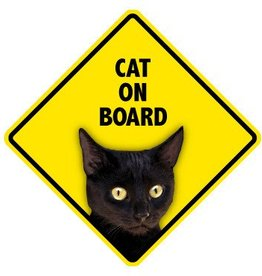 Pet On Board Sign Cat-Black