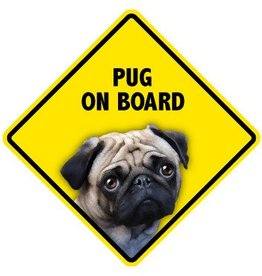 Pet On Board Sign Pug